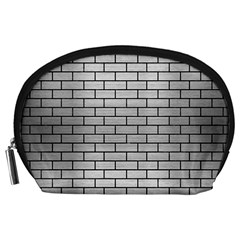 Brick1 Black Marble & Silver Brushed Metal (r) Accessory Pouch (large)