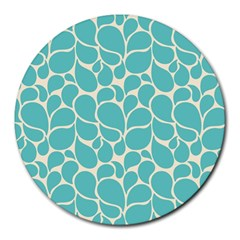 Blue Abstract Water Drops Pattern Round Mousepads