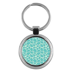 Blue Abstract Water Drops Pattern Key Chains (Round)