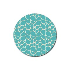 Blue Abstract Water Drops Pattern Rubber Round Coaster (4 pack)