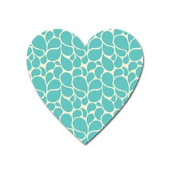 Blue Abstract Water Drops Pattern Heart Magnet