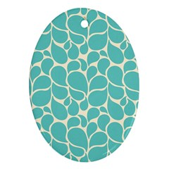 Blue Abstract Water Drops Pattern Oval Ornament (Two Sides)