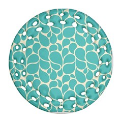 Blue Abstract Water Drops Pattern Ornament (Round Filigree)