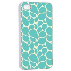 Blue Abstract Water Drops Pattern Apple iPhone 4/4s Seamless Case (White)