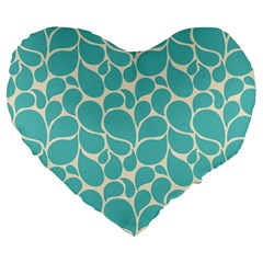 Blue Abstract Water Drops Pattern Large 19  Premium Flano Heart Shape Cushions