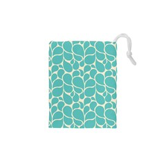 Blue Abstract Water Drops Pattern Drawstring Pouches (XS)