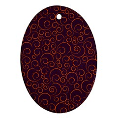 Seamless Orange Ornaments Pattern Ornament (oval)