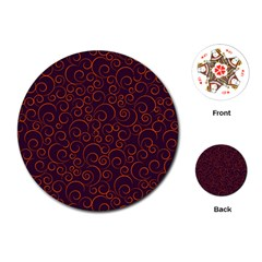 Seamless Orange Ornaments Pattern Playing Cards (Round)