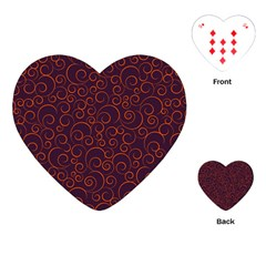 Seamless Orange Ornaments Pattern Playing Cards (Heart)