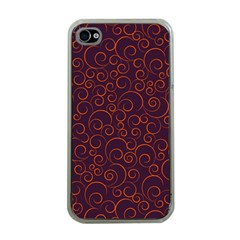 Seamless Orange Ornaments Pattern Apple iPhone 4 Case (Clear)