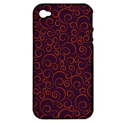 Seamless Orange Ornaments Pattern Apple iPhone 4/4S Hardshell Case (PC+Silicone)