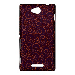 Seamless Orange Ornaments Pattern Sony Xperia C (S39H)