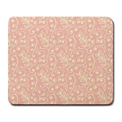 Girly Pink Leaves And Swirls Ornamental Background Large Mousepads