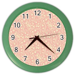 Girly Pink Leaves And Swirls Ornamental Background Color Wall Clocks