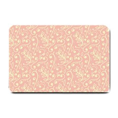 Girly Pink Leaves And Swirls Ornamental Background Small Doormat