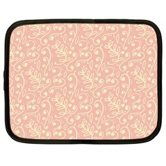 Girly Pink Leaves And Swirls Ornamental Background Netbook Case (Large)