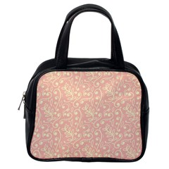 Girly Pink Leaves And Swirls Ornamental Background Classic Handbags (One Side)