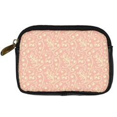 Girly Pink Leaves And Swirls Ornamental Background Digital Camera Cases