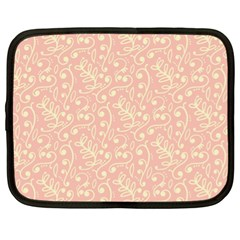 Girly Pink Leaves And Swirls Ornamental Background Netbook Case (XL)