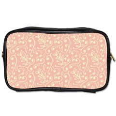 Girly Pink Leaves And Swirls Ornamental Background Toiletries Bags 2-Side