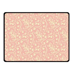 Girly Pink Leaves And Swirls Ornamental Background Fleece Blanket (Small)
