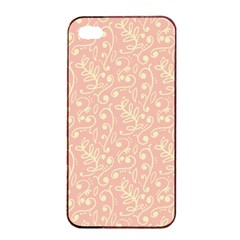 Girly Pink Leaves And Swirls Ornamental Background Apple iPhone 4/4s Seamless Case (Black)