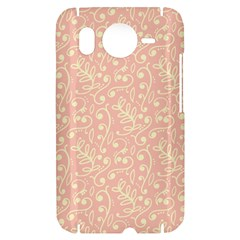Girly Pink Leaves And Swirls Ornamental Background HTC Desire HD Hardshell Case