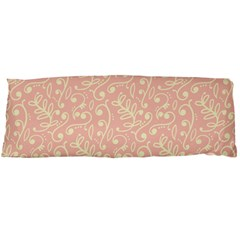 Girly Pink Leaves And Swirls Ornamental Background Body Pillow Case Dakimakura (Two Sides)