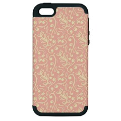 Girly Pink Leaves And Swirls Ornamental Background Apple iPhone 5 Hardshell Case (PC+Silicone)