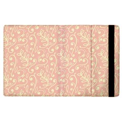 Girly Pink Leaves And Swirls Ornamental Background Apple iPad 3/4 Flip Case