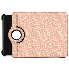 Girly Pink Leaves And Swirls Ornamental Background Kindle Fire HD Flip 360 Case