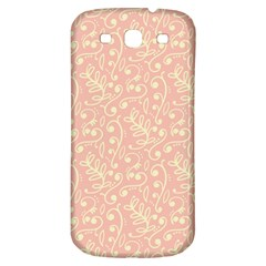 Girly Pink Leaves And Swirls Ornamental Background Samsung Galaxy S3 S III Classic Hardshell Back Case