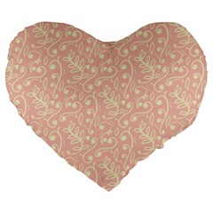 Girly Pink Leaves And Swirls Ornamental Background Large 19  Premium Heart Shape Cushions