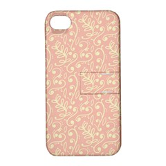 Girly Pink Leaves And Swirls Ornamental Background Apple iPhone 4/4S Hardshell Case with Stand