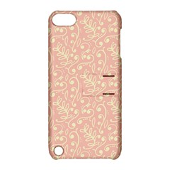 Girly Pink Leaves And Swirls Ornamental Background Apple iPod Touch 5 Hardshell Case with Stand