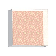Girly Pink Leaves And Swirls Ornamental Background 4 x 4  Acrylic Photo Blocks