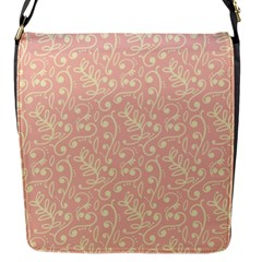 Girly Pink Leaves And Swirls Ornamental Background Flap Messenger Bag (S)