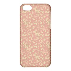 Girly Pink Leaves And Swirls Ornamental Background Apple iPhone 5C Hardshell Case