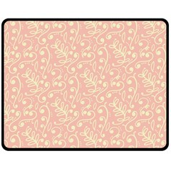Girly Pink Leaves And Swirls Ornamental Background Double Sided Fleece Blanket (Medium)