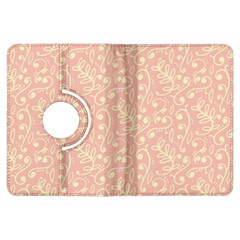 Girly Pink Leaves And Swirls Ornamental Background Kindle Fire HDX Flip 360 Case