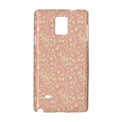 Girly Pink Leaves And Swirls Ornamental Background Samsung Galaxy Note 4 Hardshell Case