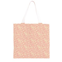 Girly Pink Leaves And Swirls Ornamental Background Grocery Light Tote Bag