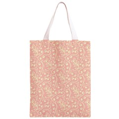 Girly Pink Leaves And Swirls Ornamental Background Classic Light Tote Bag