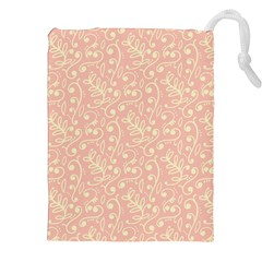 Girly Pink Leaves And Swirls Ornamental Background Drawstring Pouches (XXL)