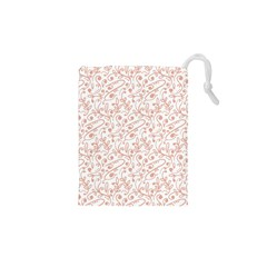 Hand Drawn Seamless Floral Ornamental Background Drawstring Pouches (XS)