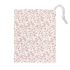 Hand Drawn Seamless Floral Ornamental Background Drawstring Pouches (Extra Large)