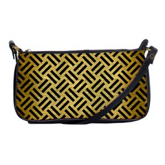 Woven2 Black Marble & Gold Brushed Metal (r) Shoulder Clutch Bag