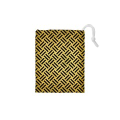 Woven2 Black Marble & Gold Brushed Metal (r) Drawstring Pouch (xs)