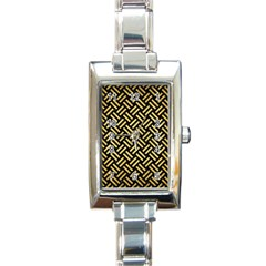 Woven2 Black Marble & Gold Brushed Metal Rectangle Italian Charm Watch