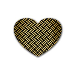 Woven2 Black Marble & Gold Brushed Metal Rubber Coaster (heart)